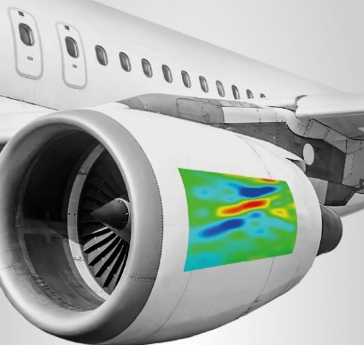 Image of plane engine that show a Digital Image Correlation measurement on it