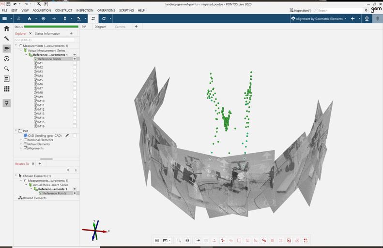 Using the ARAMIS software point cloud to build a relevant local coordinate system using features that are not visible in the reference image of a project.