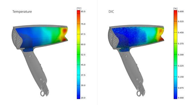 Hairdryer strain and temperature measurements using ARAMIS Optical Strain